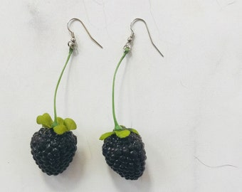 Single Blackberry Earrings on Green Stem // Adorable Birthday Gift // Bridal Party Gifts // Summer Fashion