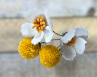Felt French Daisy with Yellow Pom Pom Accent // All Occasion Gift // Wedding Baby Shower decor // Flower Girl Wedding Party Accessories