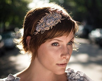 Glamorous Pink and Silver Sequin Beaded Headband with Taupe Roping// Ethereal Wedding Party Casual or Fancy Accent