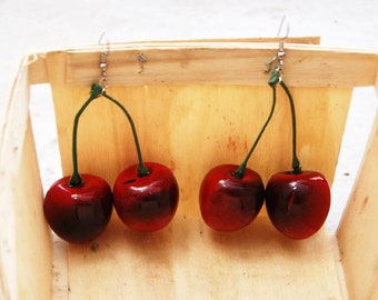 Double Red Cherry Earrings on Green Stem // Adorable Any Occasion Gift // Housewarming Wedding Baby Shower Gift // Bridal Party Gift