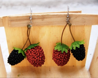 LIMITED TIME OFFER - Charming Red Raspberry and Blackberry Earrings // Birthday Gift // Summer Fashion