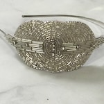 Silver Beaded and Sequined Crystal Art Deco Headband // Handmade 1920's Style Accent Headpiece with Oval and Round Features