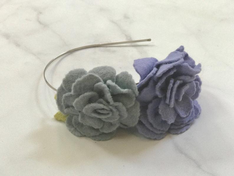 Violet & Olive Rose Flower Headband//Adjustable Metal or image 0