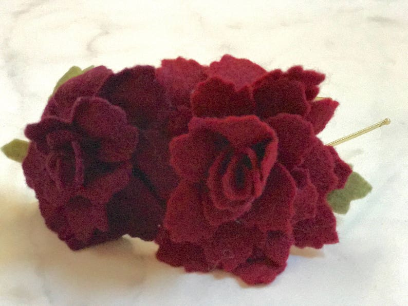 Deep Red Rose Flower Hair Accessory//Adjustable Metal or image 0