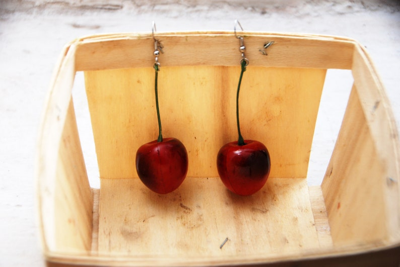 Charming Red Cherry Earrings on Green Stem // Adorable Quirky image 0