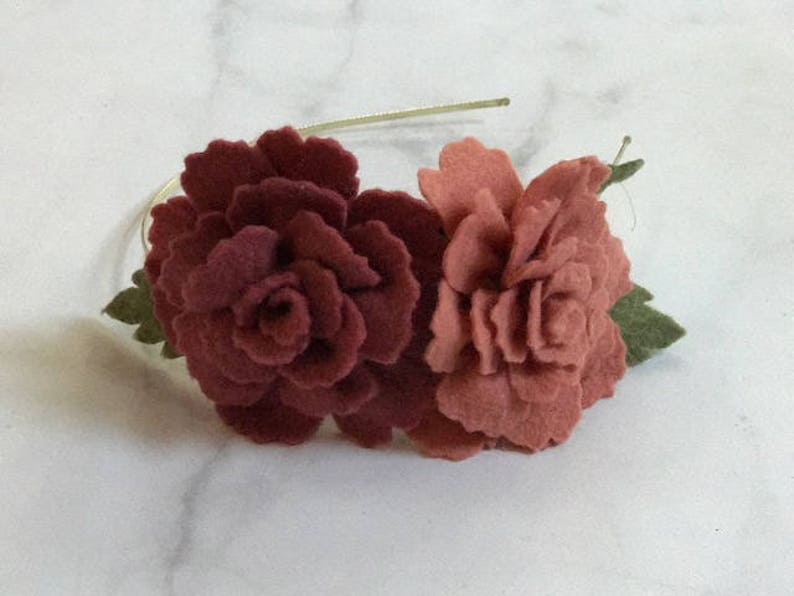 Mauve Rose Flower Hair Accessory//Adjustable Metal or Elastic image 0