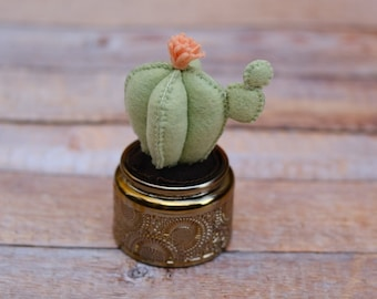 Repurposed Anthropologie iridescent candle with handsewn Felt Fake Cactus // Baby Wedding Bridal Shower Gift // Back to School Gift
