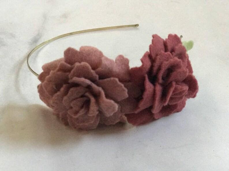Mauve Rose Flower Headband // Adjustable Metal or Elastic Band image 0