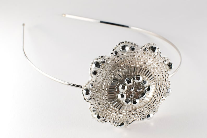 White and Silver Crystal Beaded Circle Snowflake Headband // image 0