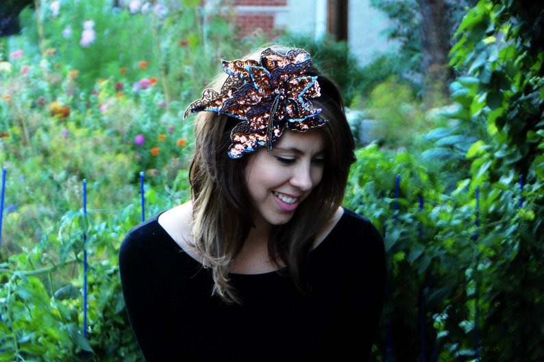 Show-Stopping Stitched Copper Sequin Hairpiece // Handmade image 0