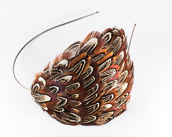 SALE! Natural Almond Ringneck Pheasant Feather Headband // Classy 1920's Style Headpiece // Wedding Accessory