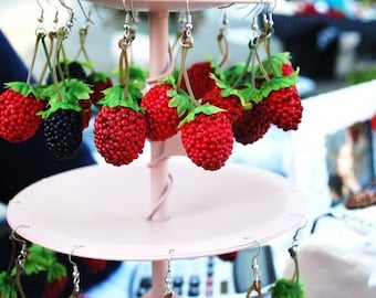 LIMITED TIME OFFER // Charming Red Raspberry Earrings // Adorable Birthday Gift // Summer Fun