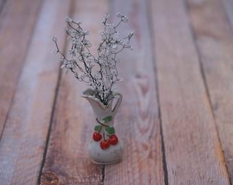 Glass beaded baby's-breath in vintage cherry vase // Baby Wedding Bridal Shower Decor // Wedding Summer Flowers // Labor Day Weekend