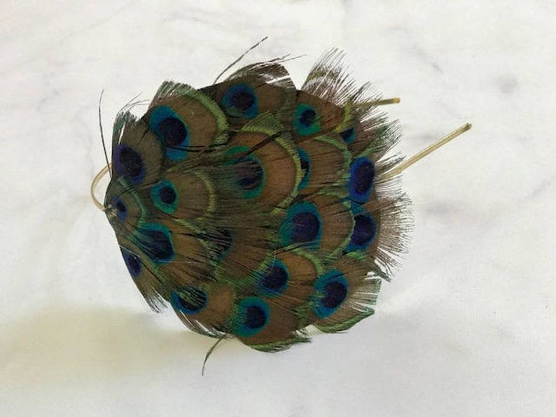 SALE Peacock Feather Headband // 1920's Style Headpiece image 0