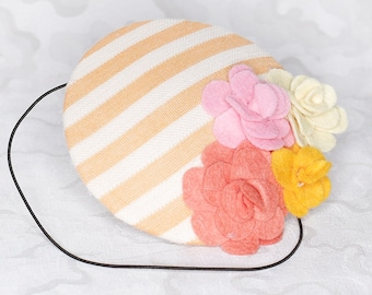 Flower Fascinator // Peach White Pink Yellow Accessory Outfit Costume // Wedding Accessories // Summer Evening Party