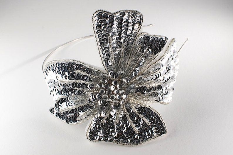 SALE Silver Handmade Sequin and Beaded Flower Headband // image 0