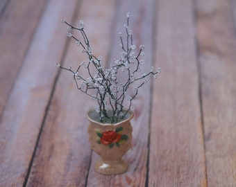 French glass beaded baby's-breath bouquet in a vintage mini vase // Baby Wedding Bridal Shower Decor // Wedding Summer Flowers