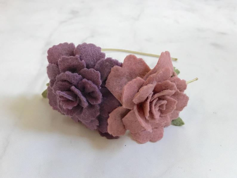Purple Rose Flower Hair Accessory//Adjustable Metal or Elastic image 0