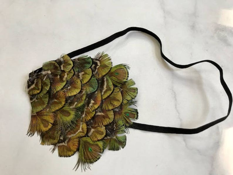 SALE Olive Green Peacock Feather Headband// 1920's image 0