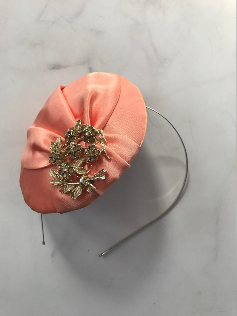 Peach Satin Fascinator with Beautiful Brooch // Vintage Spring image 0