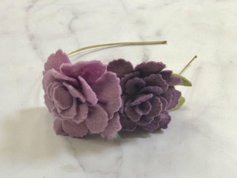 Purple and Dusty Rose Headband // Adjustable Metal or Elastic image 0