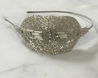 Silver Beaded and Sequined Crystal Art Deco Headband // Handmade 1920s Style Accent Headpiece with Oval and Round Features // Vintage Glam