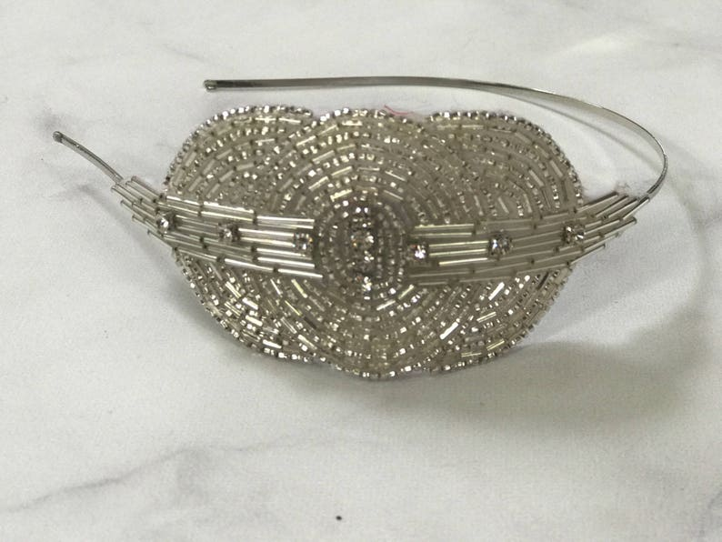 Silver Beaded and Sequined Crystal Art Deco Headband // image 0