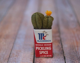 Mini Green Cactus with Yellow Flower in McCormick Pickling Spice tin // Cute Kitchen Home Decor // Baby Wedding Shower Gift // Fall Decor