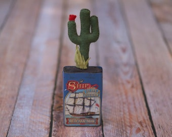 Felt Saguaro Cactus with Red Flower in Ship Golden Sovereign Tin // Housewarming Wedding Baby Bridal Shower Gift // Classroom Office Accents