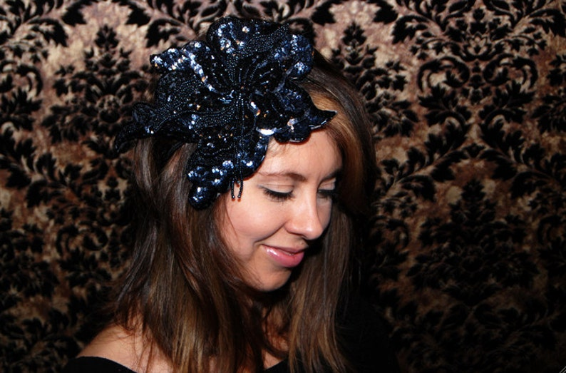 Large Black and Silver Beaded & Sequin Handmade Flower image 0
