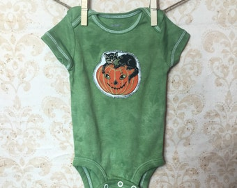 3 month Baby Hand Dyed Halloween Appliqued onesie