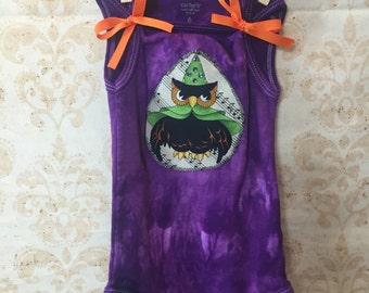 6 month Baby Girl Hand Dyed Halloween Appliqued onesie with Swarovski Crystals