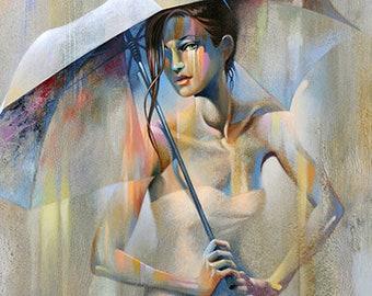 Abstract Figure Fine Art Canvas Print • Figure Painting Reproduction • CHAMPAGNE RAIN • Contemporary Woman Figurative Art •  Umbrella Art