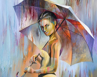 Abstract Figure Fine Art Paper Print • Figure Painting Reproduction • SPRING GARDEN • Contemporary Umbrella Print • Figure Art • Umbrella
