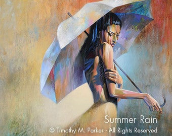 Abstract Figure Fine Art Paper Print • Umbrella Painting Reproduction • SUMMER RAIN • Contemporary Woman Art • Figurative Art •  Umbrella