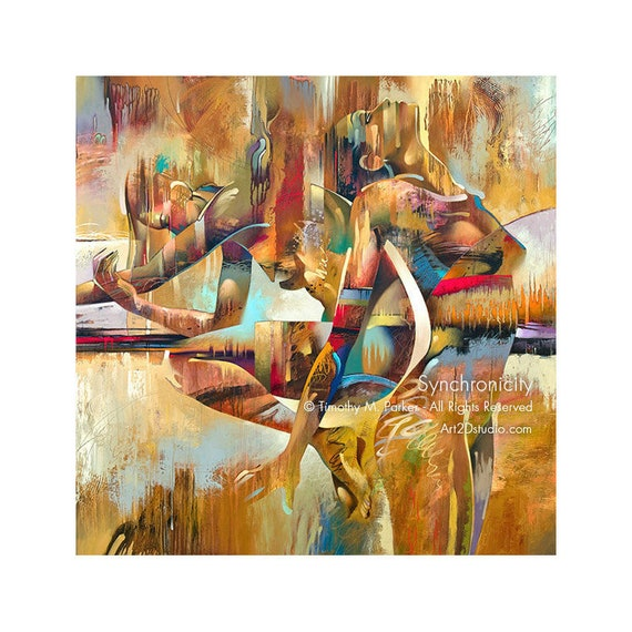Contemporary Figure Fine Art Canvas Print Abstract Nude Art Modern Figure Painting Reproduction Synchronicity Contemporary Nude Art