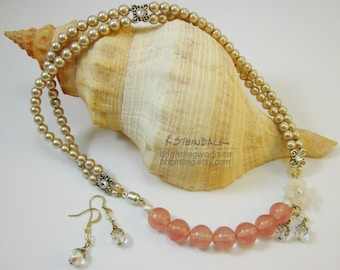Antiquity Bloom; Classic Champagne Glass Pearl & Cherry Quartz Necklace/Earring Set With Swarovski Crystal Elements and Offside Magnet Clasp
