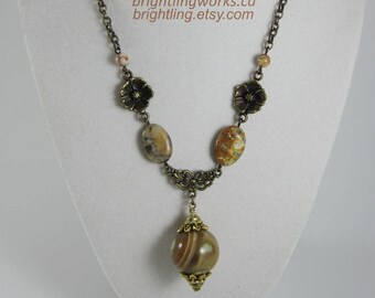 Growing Ground; Adjustable Necklace with Earthy Natural Stone, Moss Opal, Floral Details & Vintage Glass Marbled Bead Pendant