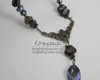 River Rock; Inspired by Canada's Natural Rivers, Antique Brass Necklace with Natural Stone & Rich Purple-Blue Freshwater Pearls and Crystal
