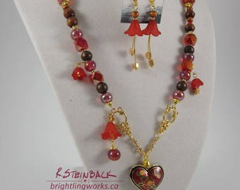 Of Bleeding Hearts; Earring & Necklace Set with Enamel Heart Pendant, Acrylic Flower Charms, Natural Wood Highlighted with Fuchsia and Gold