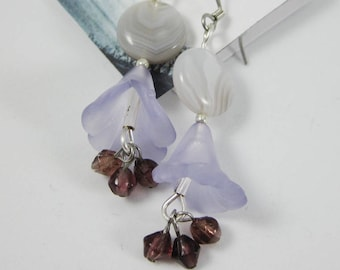 Purple Tonal Drop Flowers; Sleek Earring Design with Acrylic Flower Accents Playing with Tones and Textures in Silvery Grays, Lilac & Violet