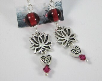 Romantic Lotus Blossom & Celtic Heart Earrings with silver Findings, Stylized Lotus Flowers Accented with Rich Fuchsia Glass and Crystals