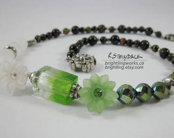 Unique Asymmetrical Necklace Split in Whites and Greens with Natural Tiger Stone & Silver-lined, Frosted and Faceted Blue Green Glass