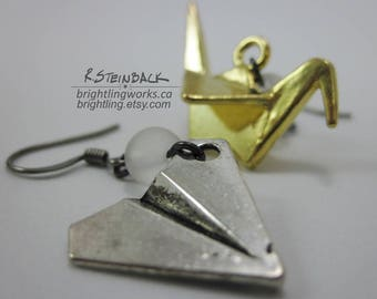 Paper Wings; Sweet Whimsical Mismatched Earrings with Gold Origami Crane & Silver Paper Airplane Metal Charms, Frosted Glass and Gunmetal