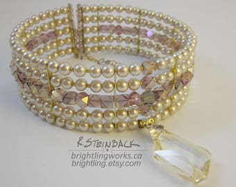 Champagne Elegance; Decadent Royal Choker in Glass Pearls and Faceted Mauve Crystal Glass Cubes Featuring a Champagne Crystal Pendant
