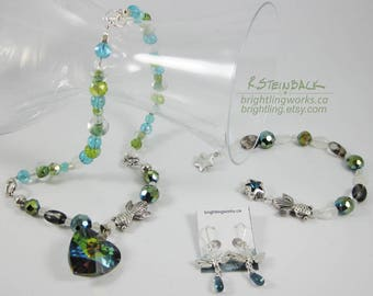 Ripples of the Pond; Necklace, Earring, Bracelet Set with Silver Goldfish, Dragonflies, Crystals, Glass, Watery Blue Greens & Natural Stone