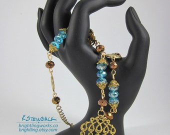 Cinnamon & Cyan; Adjustable Necklace With Spice; Gold with Vibrant Blue and Copper Faceted Glass Dances with Movement, Play and Floral Charm