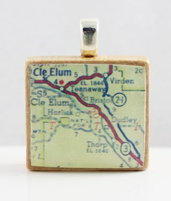 Cle Elum Washington 1962 Vintage Scrabble Tile Map Pendant Etsy
