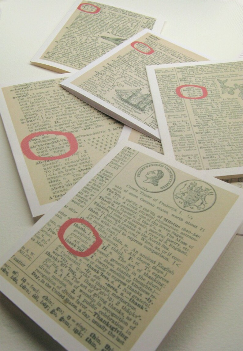 Vintage dictionary cards CREATE