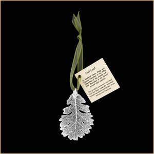 Real Birch Leaf Ornaments Dipped In Silver with Ribbon and Hang Tag Real Dipped Leaves Christmas Ornaments